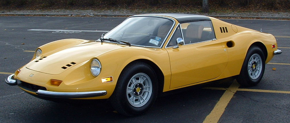 1973 246 GTS. Fly yellow with tan interior.